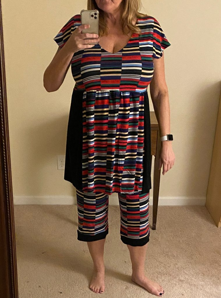 Image of woman in homesewn pajamas.