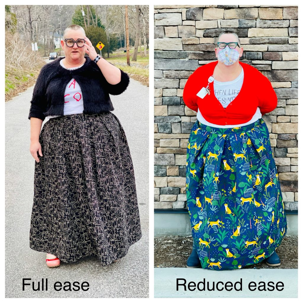 Side by side photo of Jenny wearing a skirt with the full ease intended by the designer on the left and with less ease on the right.